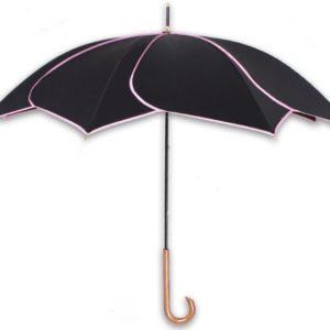 Long-handle Black Petal Swirl Rain Sun Umbrella