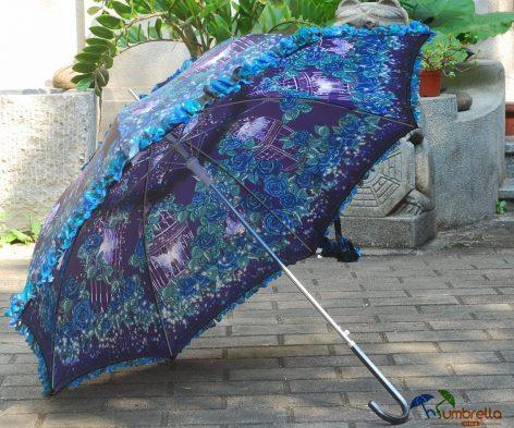Customized Full Printing Floral Border Beautiful Design Straight Lady Umbrella
