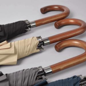 black umbrella wooden handles