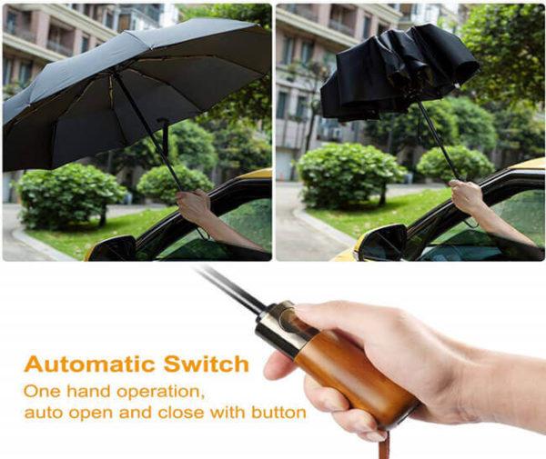 en's Automatic Umbrella with Wood Handle