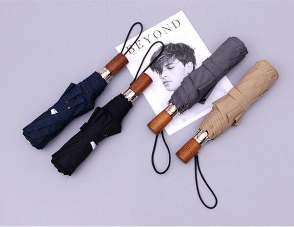 wooden handle folding umbrella